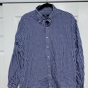 Men's vineyard vines blue dress shirt size Large